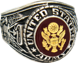 U.S. Army Pure Rodium Finish Engraved Ring