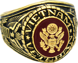 U.S. Army Vietnam Veteran 18k Gold Plated Engraved Ring