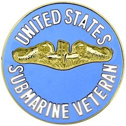 "U.S. Navy Submarine Veteran Large Hat or Lapel Pin (Gold Finish, 1 1/2"")"