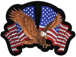 "Double Flag Eagle Back Patch (12"")"