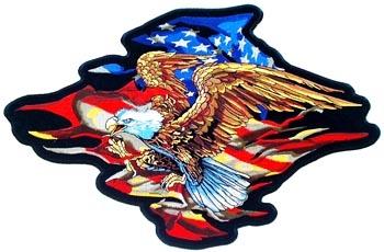 "Flaming Flag Eagle Back Patch (15"")"